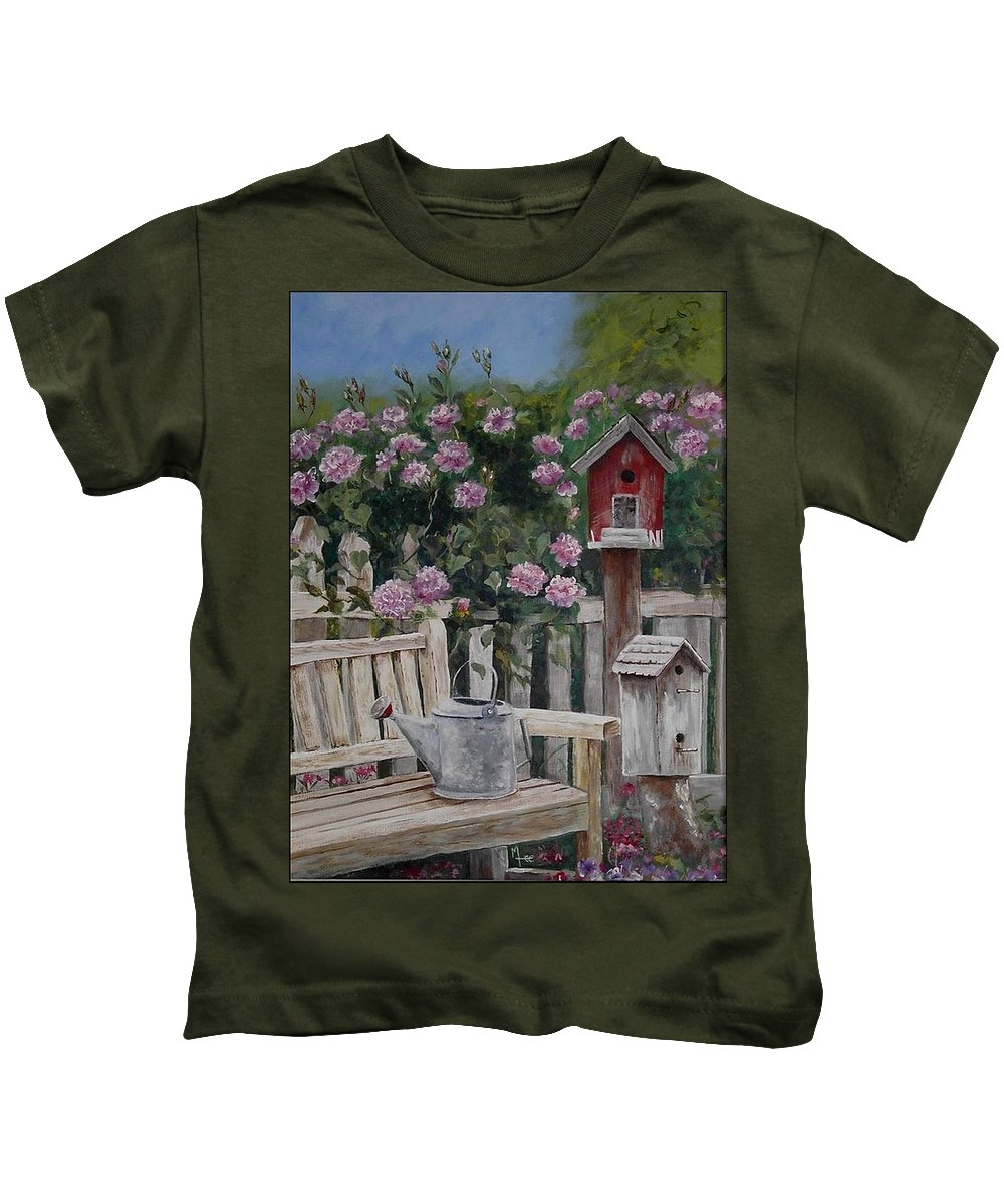 Charity Kids T-Shirt featuring the painting Take A Seat by Mary-Lee Sanders