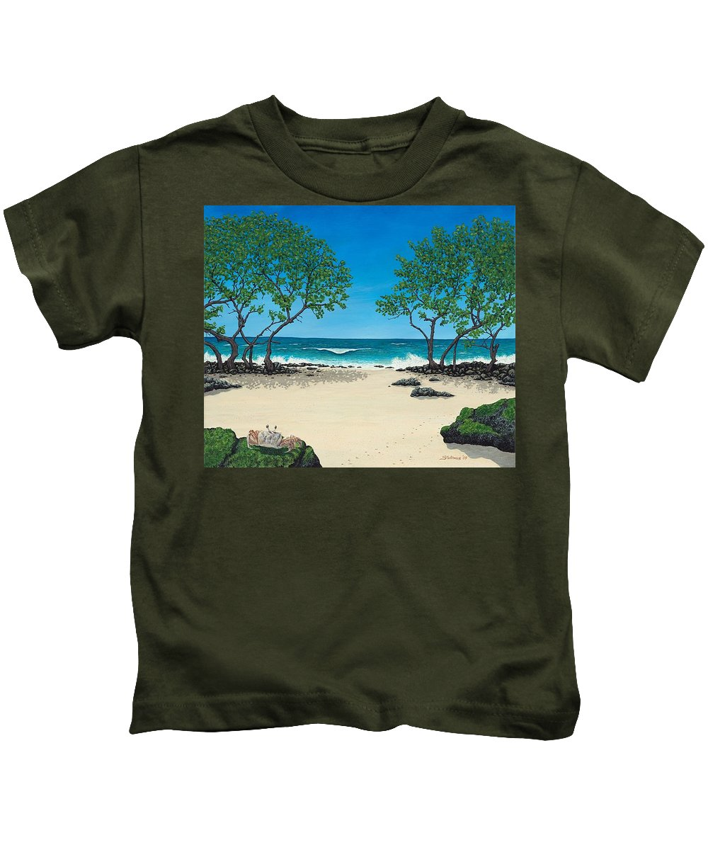 Ocean Kids T-Shirt featuring the painting Where Is My Corona by Shawn Stallings