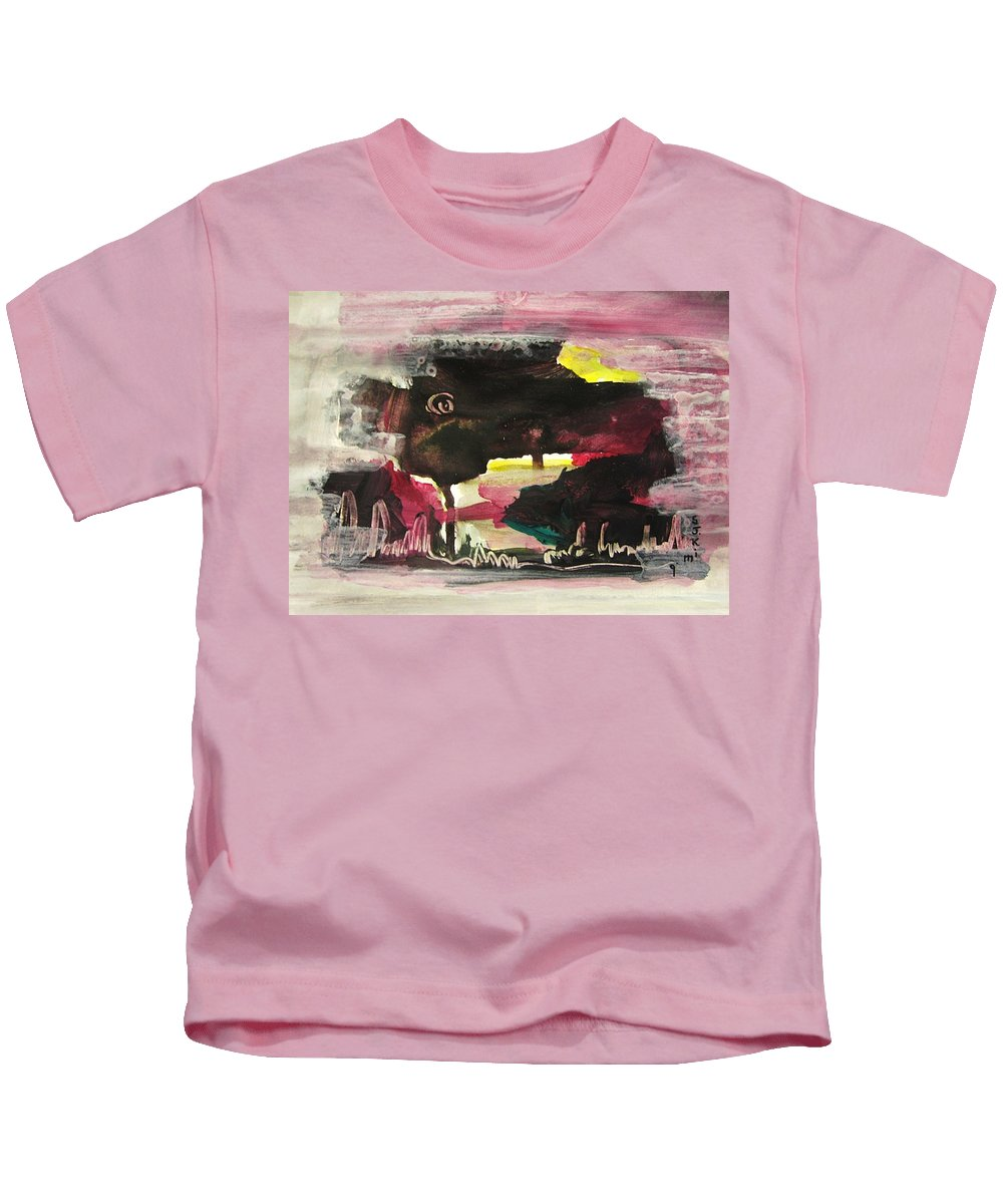 Dusk Paintings Kids T-Shirt featuring the painting Abstract Twilight Landscape71 by Seon-Jeong Kim