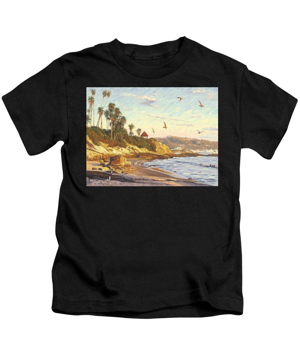 Twilight Kids T-Shirt featuring the painting Heisler Park Rockpile At Twilight by Steve Simon