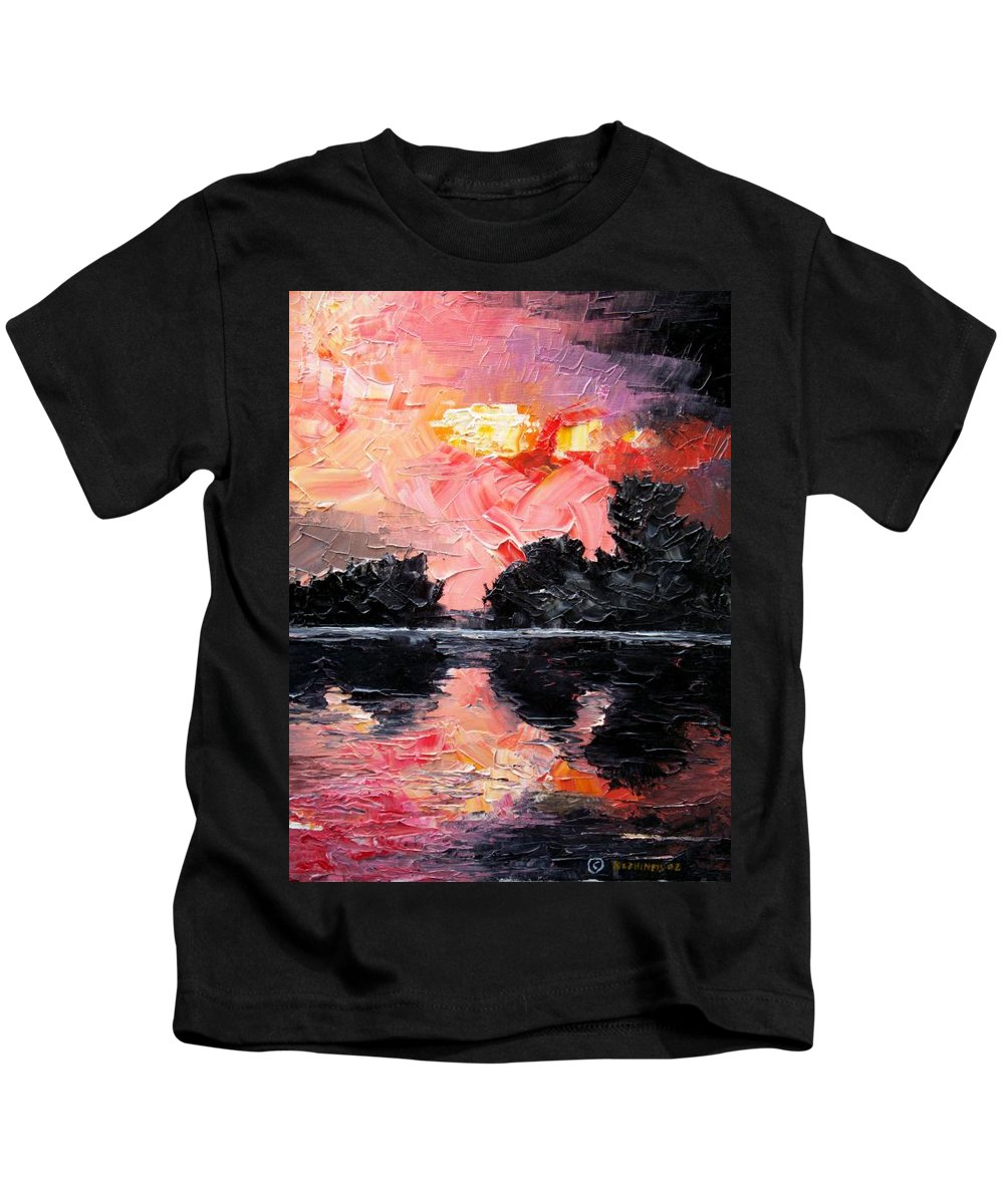 Lake After Storm Kids T-Shirt featuring the painting Sunset. After Storm. by Sergey Bezhinets