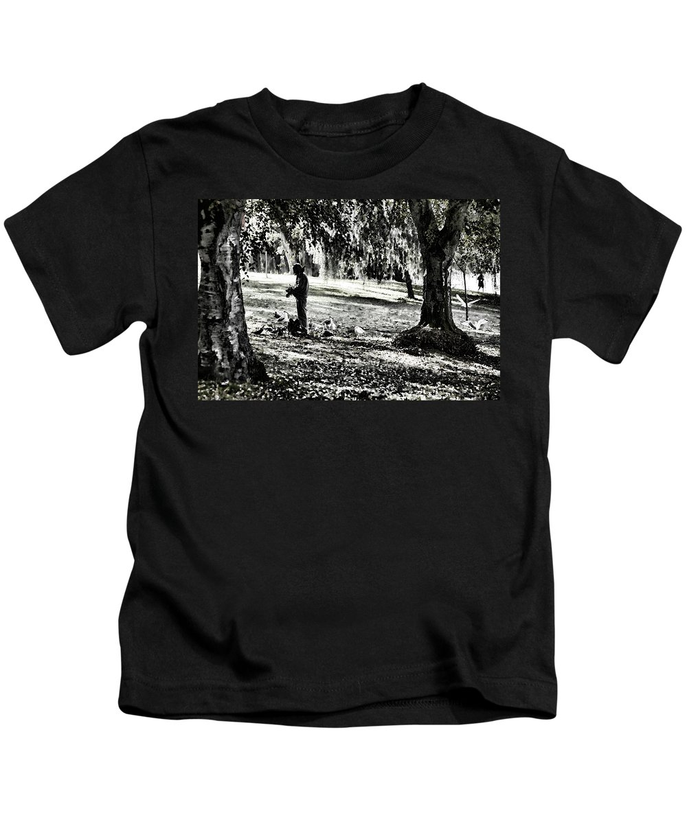 Photo Kids T-Shirt featuring the photograph The Bird Feeder by Monte Arnold