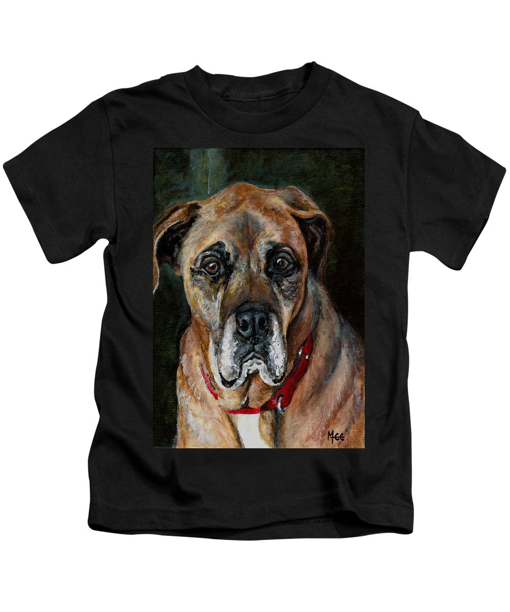 Boxer Kids T-Shirt featuring the painting Boo For Dogtown by Mary-Lee Sanders
