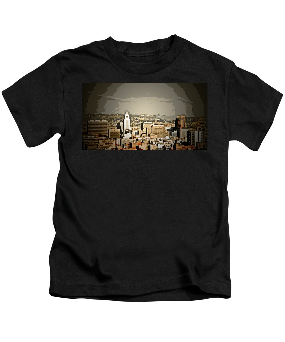 La City Hall Kids T-Shirt featuring the digital art Los Angeles City Hall by Chris Brannen