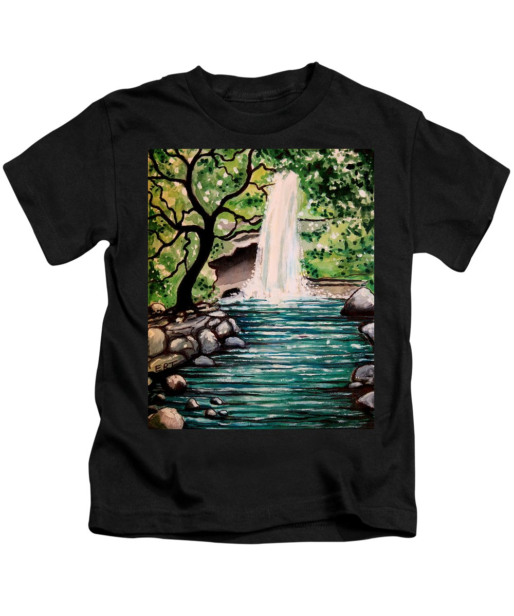 Tropical Kids T-Shirt featuring the painting Mystical Waterfall by Elizabeth Robinette Tyndall