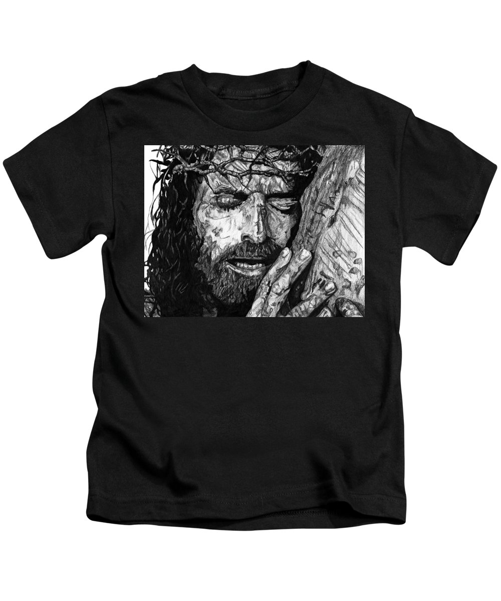 Portrait Kids T-Shirt featuring the drawing The Lion by Bobby Shaw