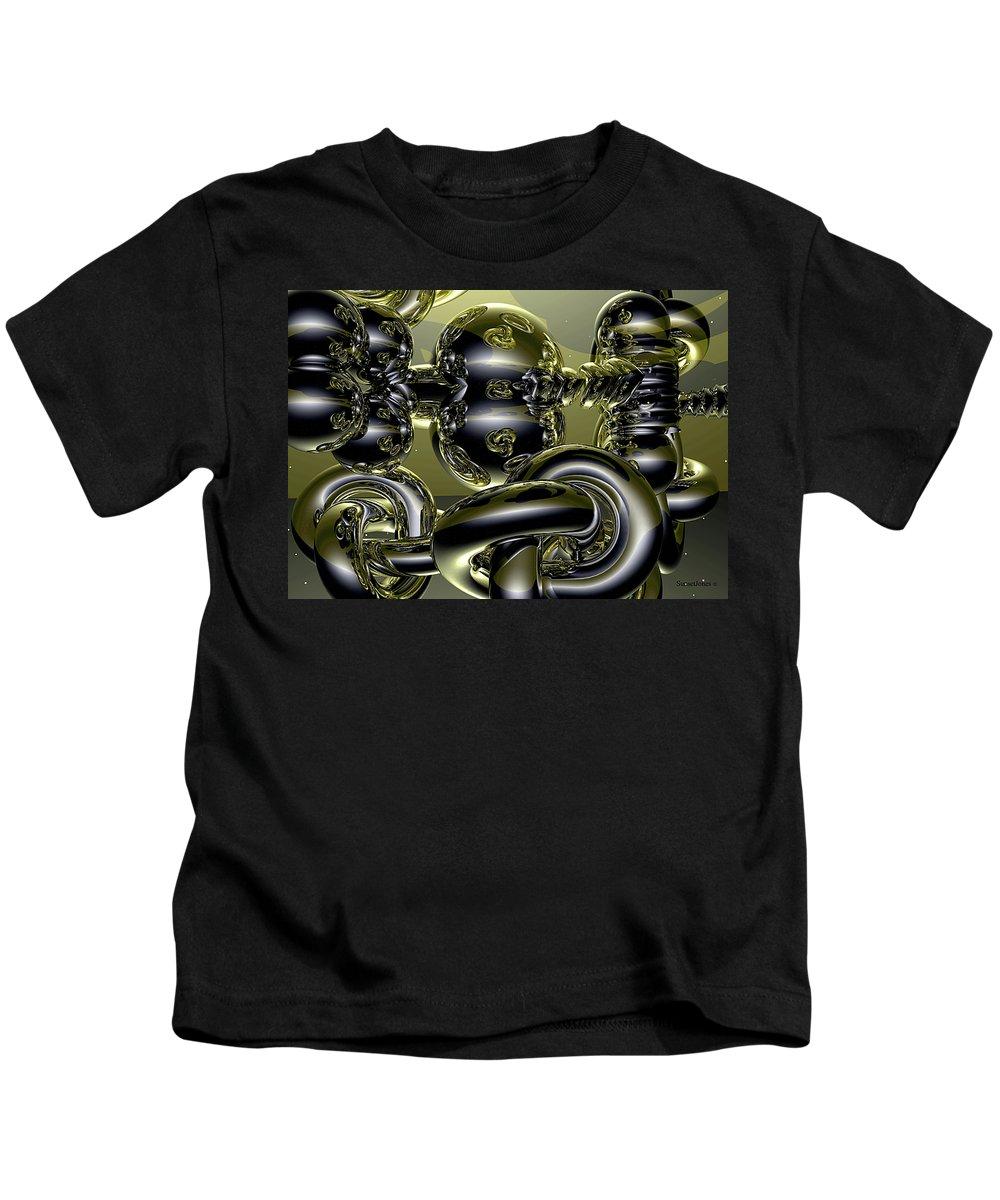 Gold Kids T-Shirt featuring the digital art Twisted Logic by Robert Orinski