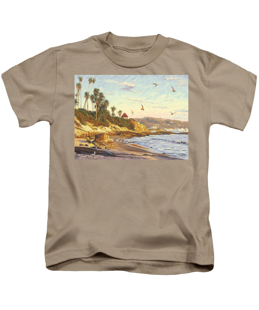 Twilight Kids T-Shirt featuring the painting Heisler Park Rockpile At Twilight by Steve Simon