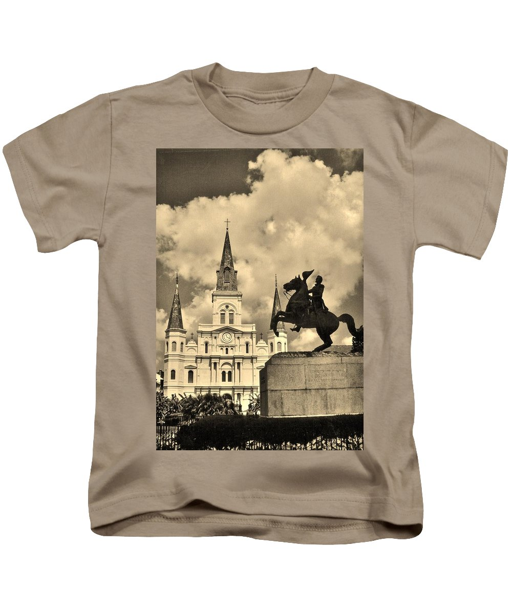 Old Church Kids T-Shirt featuring the photograph St. Louis Cathedral And Statue by John Malone