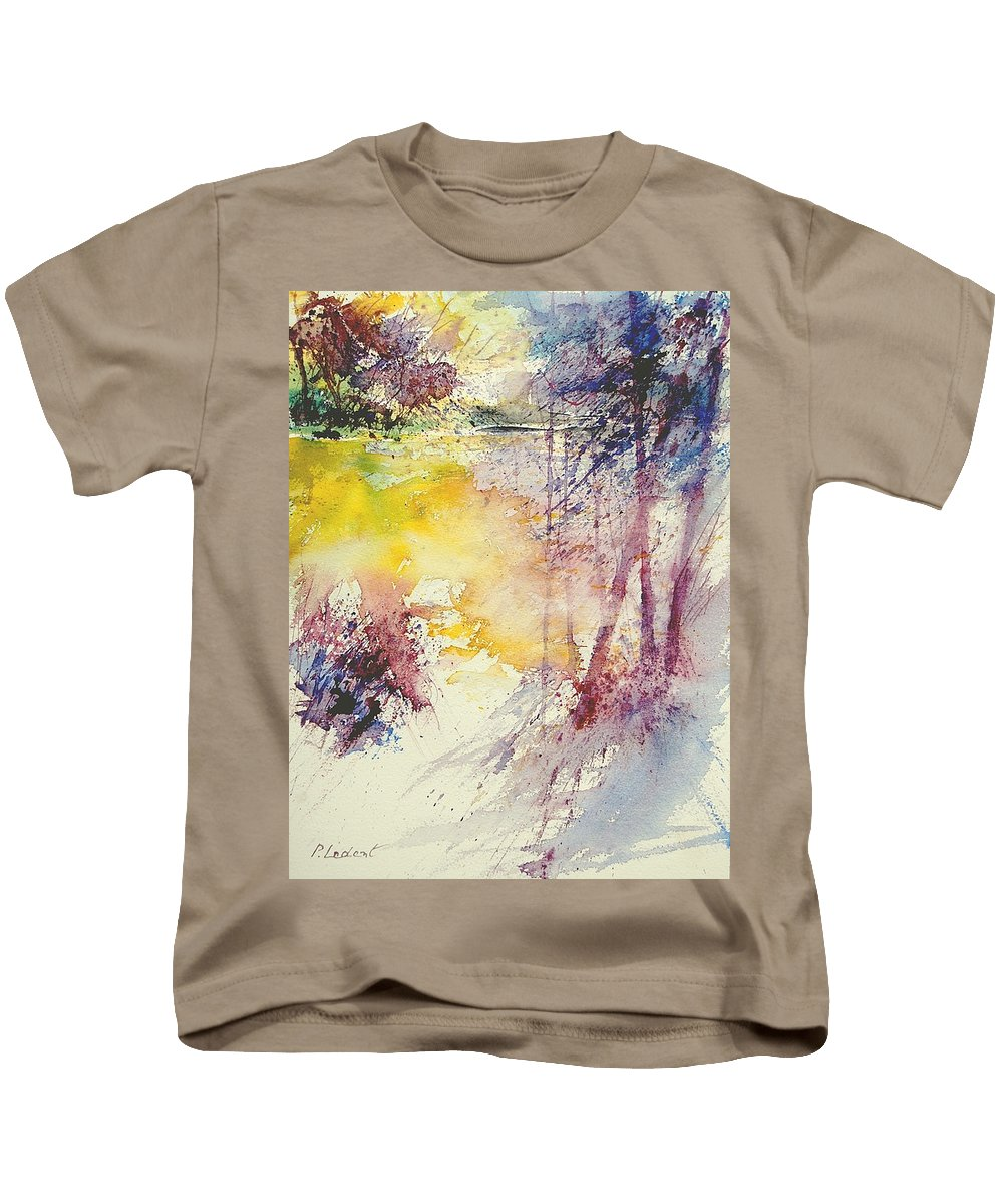 River Kids T-Shirt featuring the painting Watercolor 007 by Pol Ledent