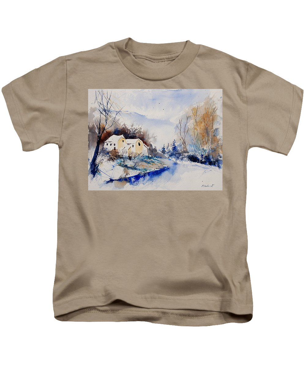 Winter Kids T-Shirt featuring the painting Watercolor 080408 by Pol Ledent
