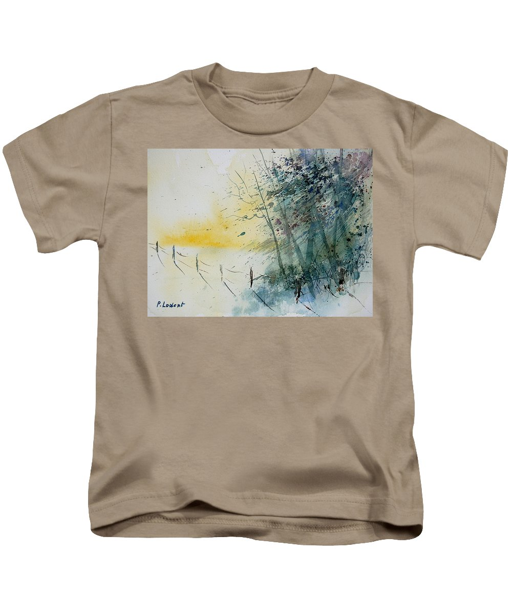 Winter Kids T-Shirt featuring the painting Watercolor 080708 by Pol Ledent