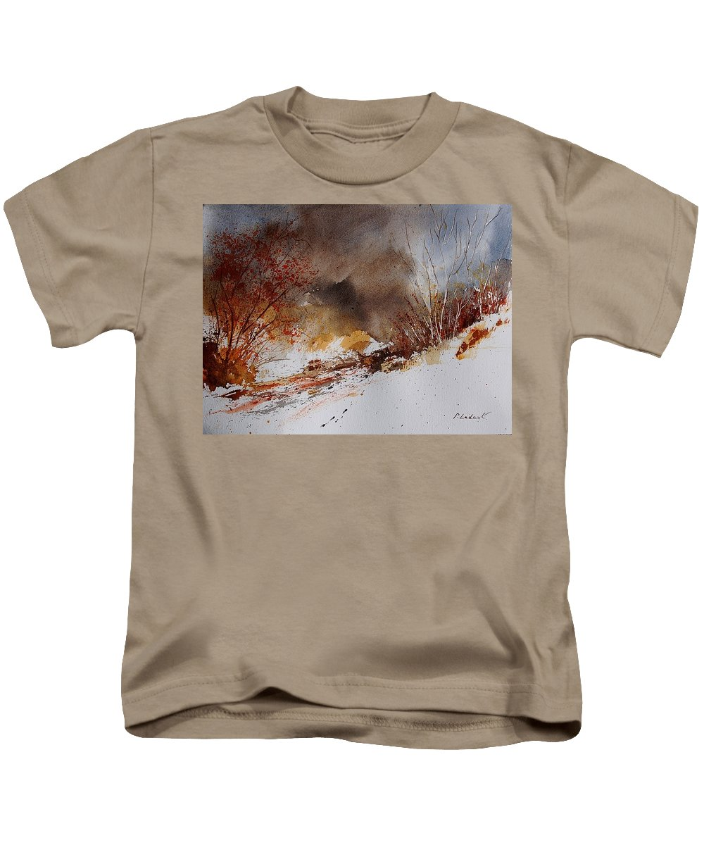 Winter Kids T-Shirt featuring the painting Watercolor 100508 by Pol Ledent