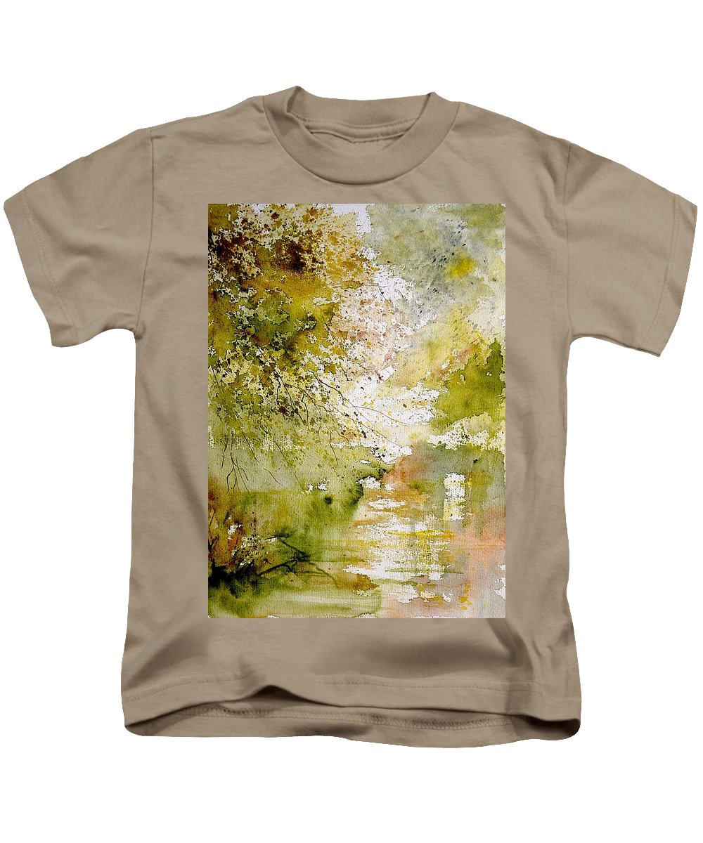 Water Kids T-Shirt featuring the painting Watercolor 211005 by Pol Ledent
