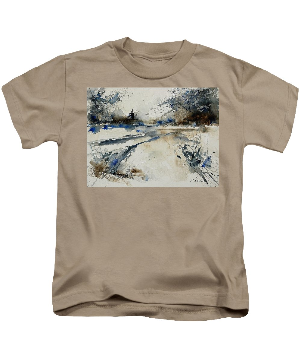 Winter Kids T-Shirt featuring the painting Watercolor 240906 by Pol Ledent