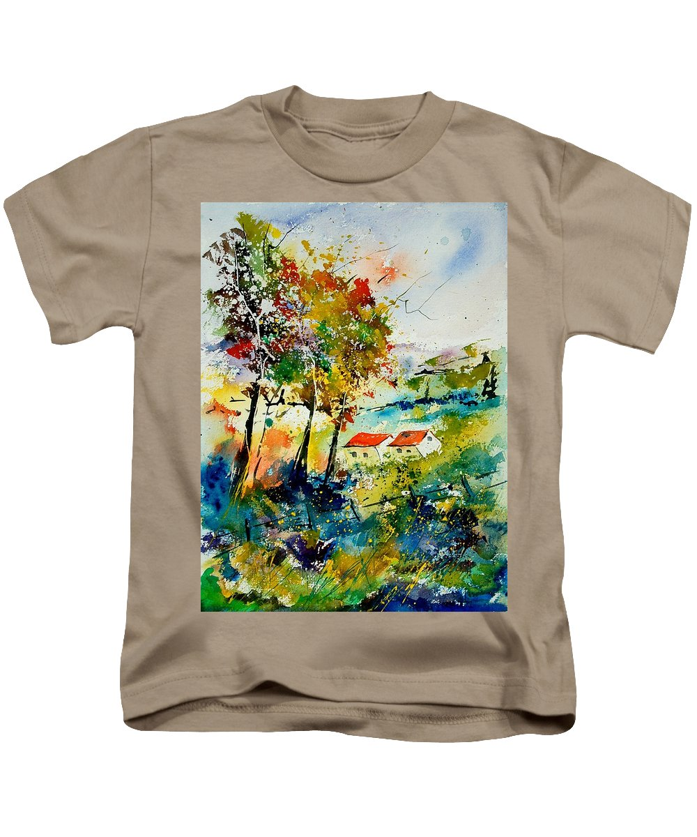 Poppies Kids T-Shirt featuring the painting Watercolor 903001 by Pol Ledent