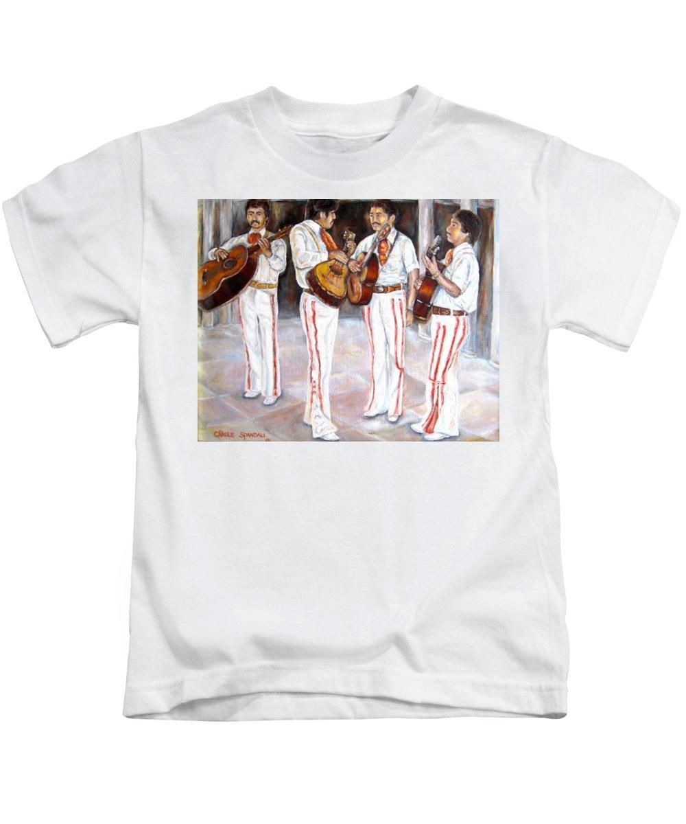 Mariachis Kids T-Shirt featuring the painting Mariachi Musicians by Carole Spandau