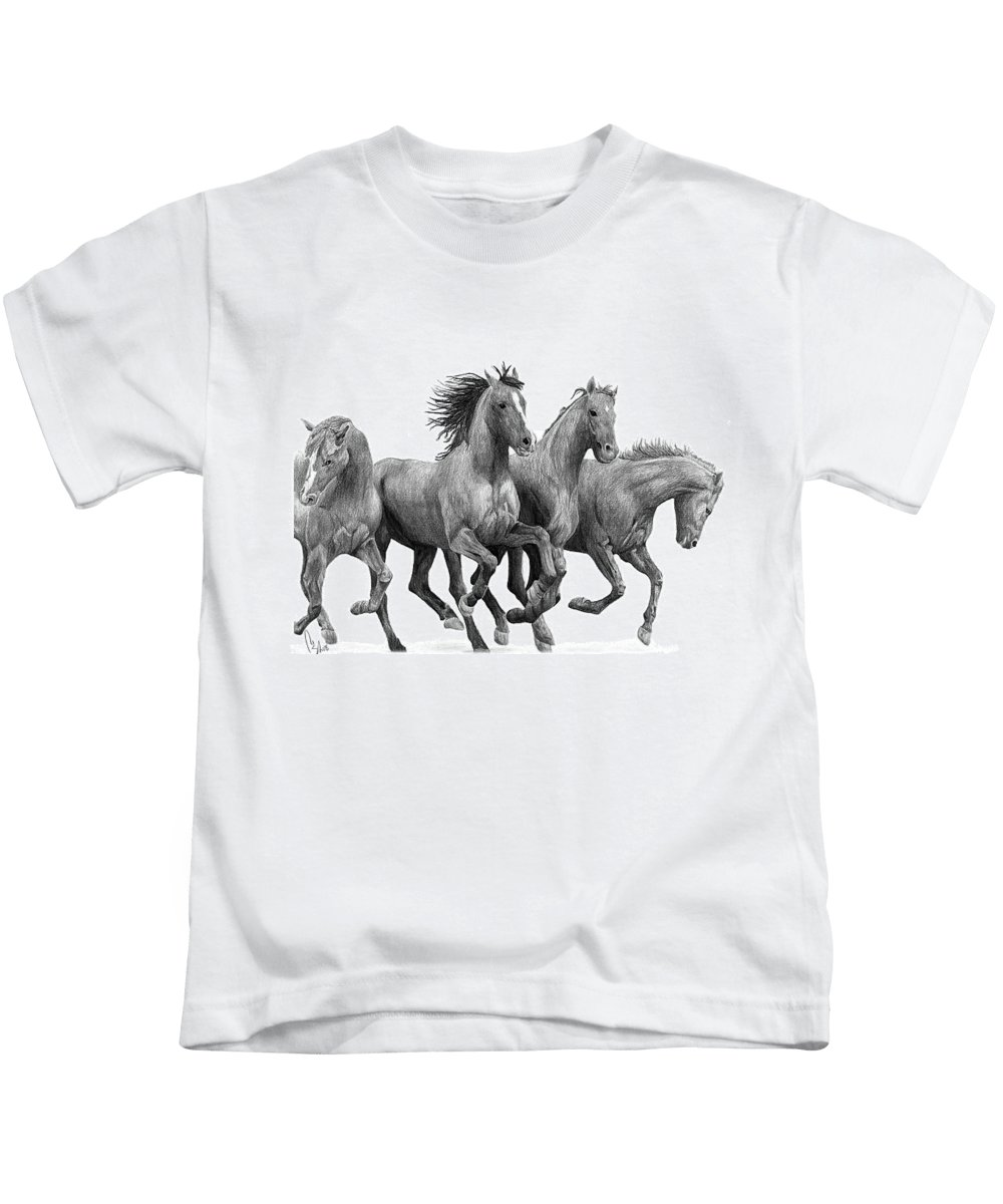 Portrait Kids T-Shirt featuring the drawing Horses by Bobby Shaw