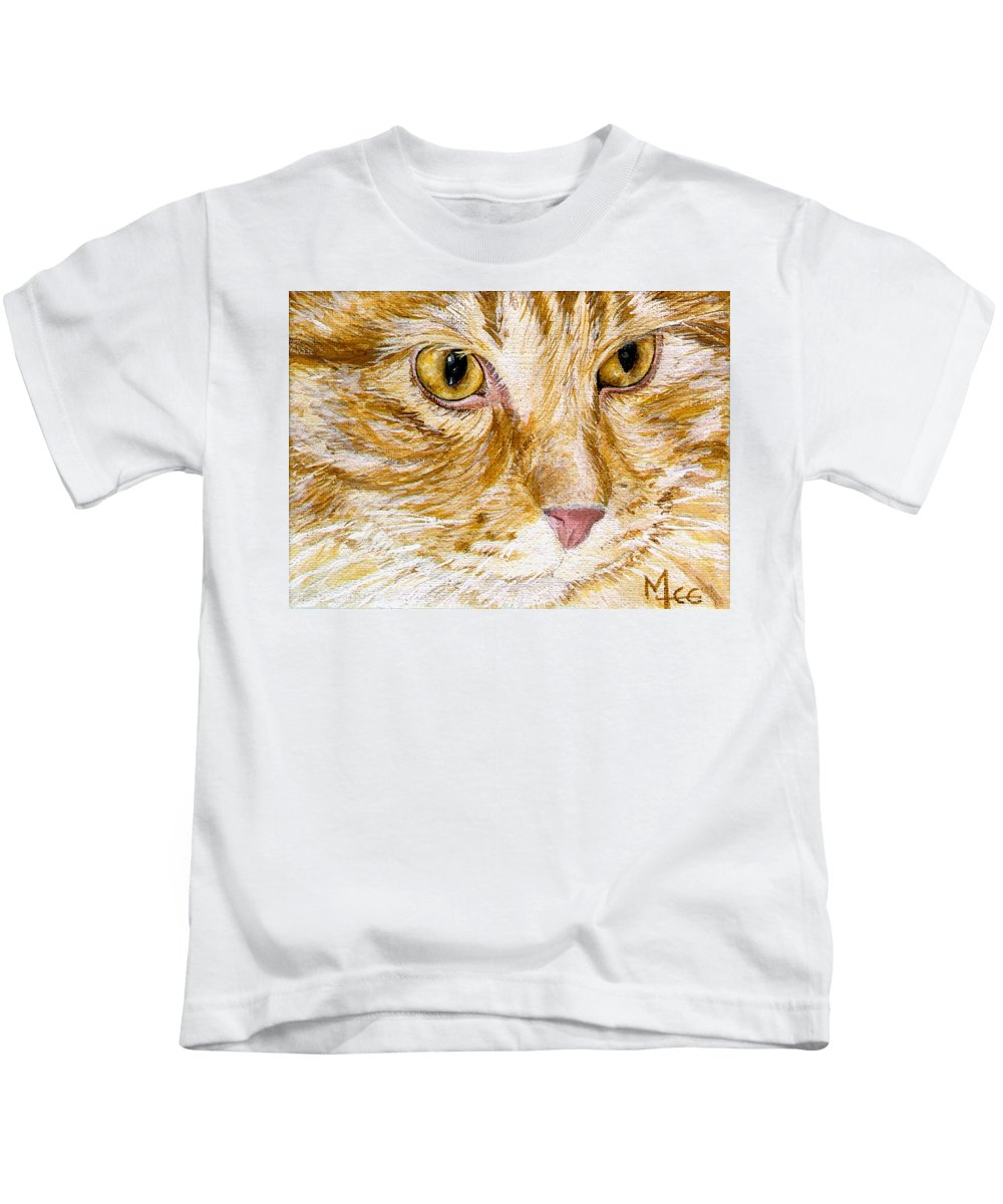 Charity Kids T-Shirt featuring the painting Leo by Mary-Lee Sanders