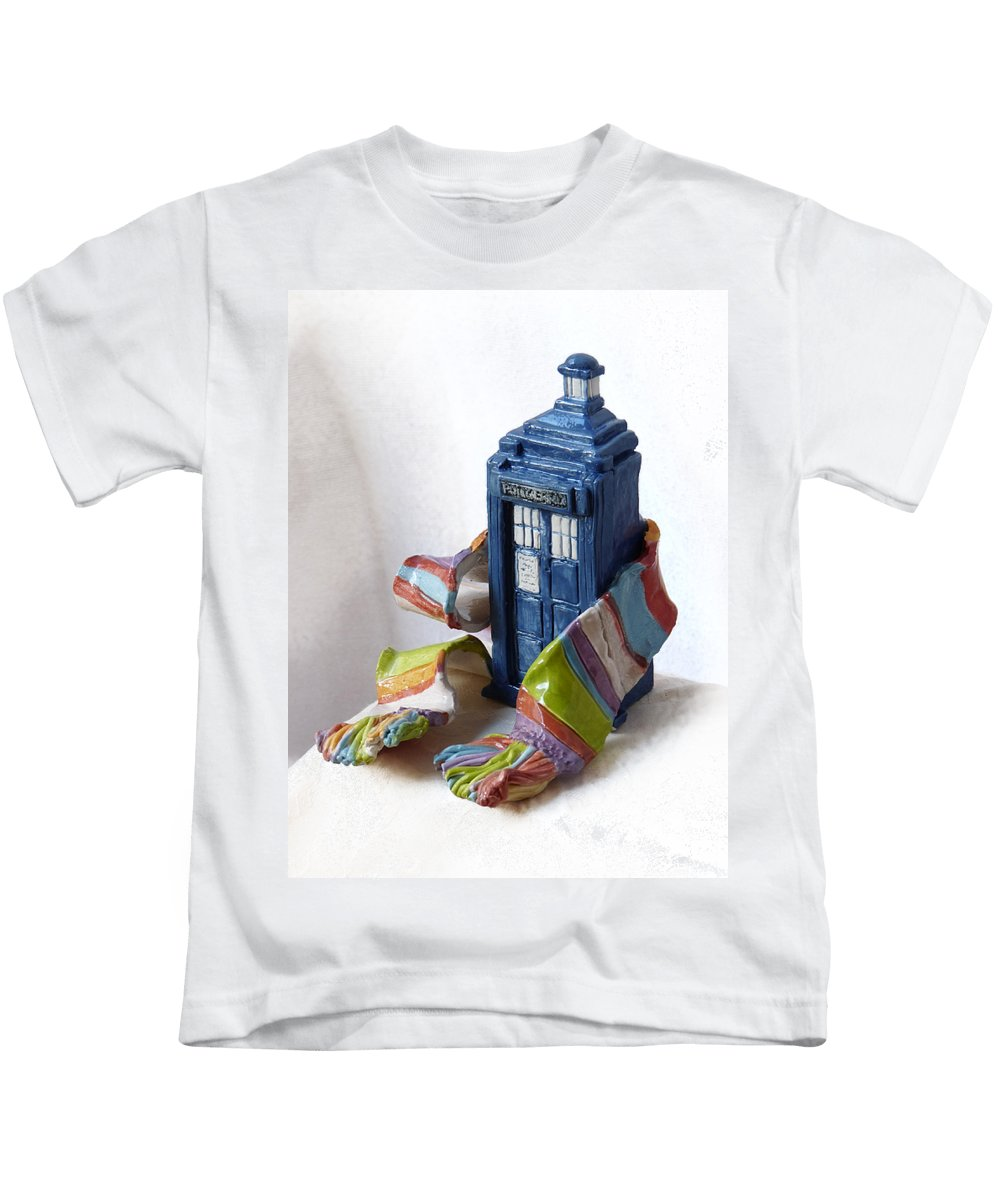 Dr. Who Kids T-Shirt featuring the mixed media Tardis Ll by Rhonda Chase