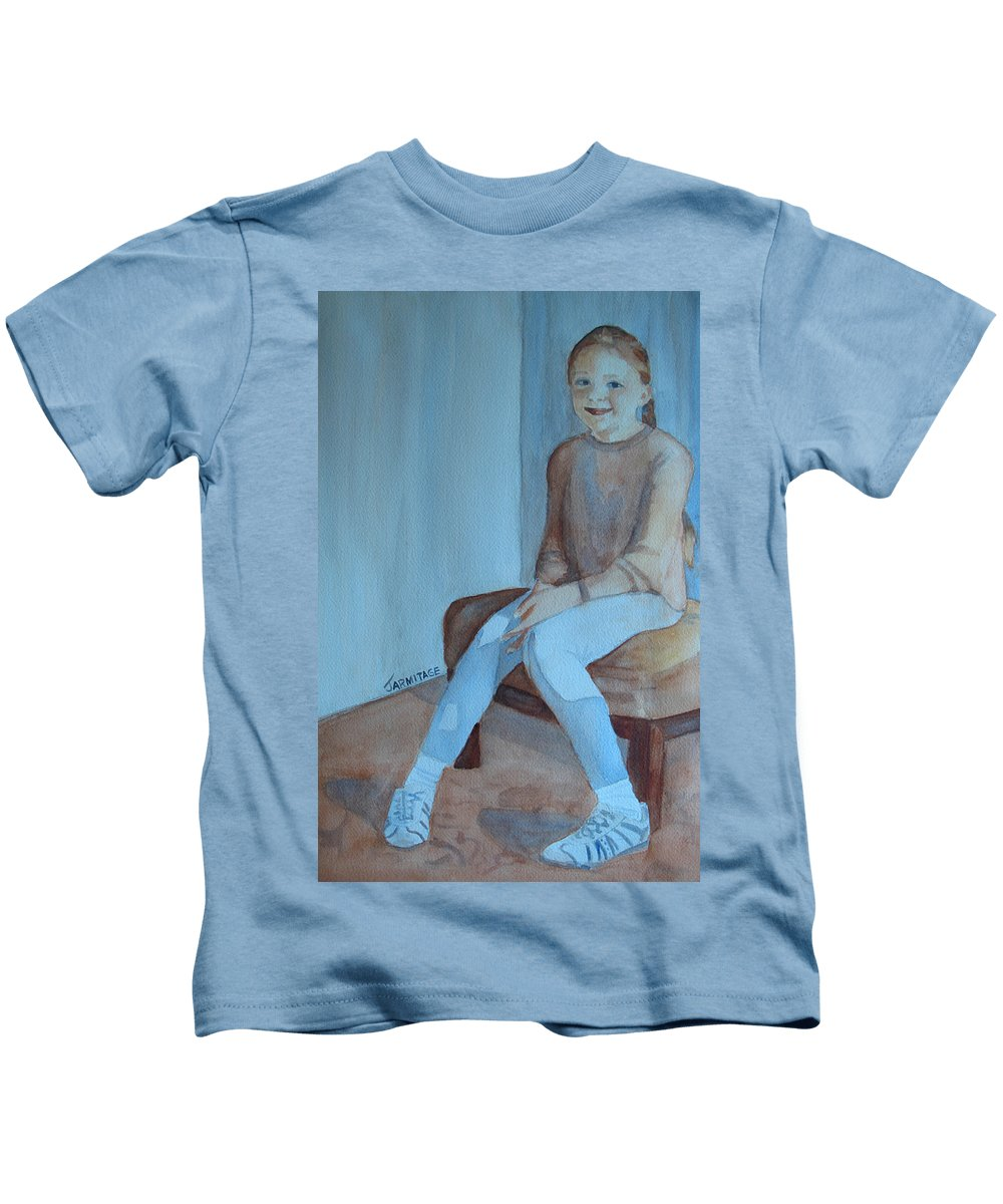 Girl Kids T-Shirt featuring the painting Sneakers II by Jenny Armitage