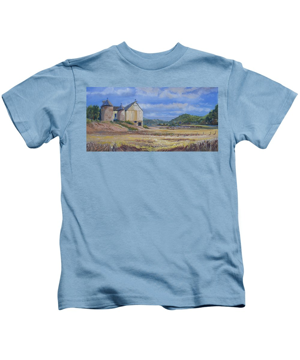 Pastoral Kids T-Shirt featuring the painting Trinidad Barn Colorado by Heather Coen
