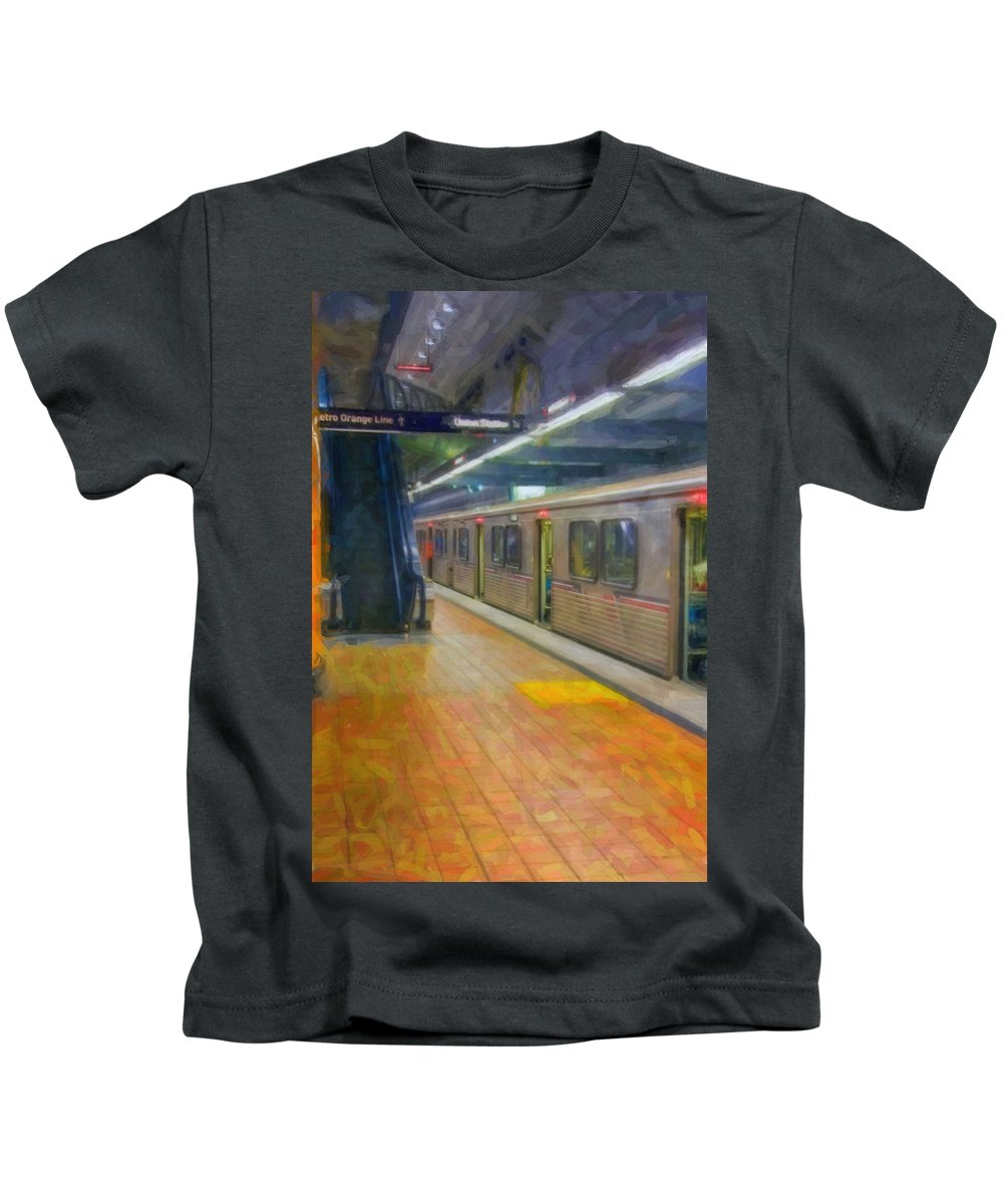 Metro Red Line - Hollywood - Vine Subway Station - Los Angeles Kids T-Shirt featuring the photograph Hollywood Subway Station by David Zanzinger