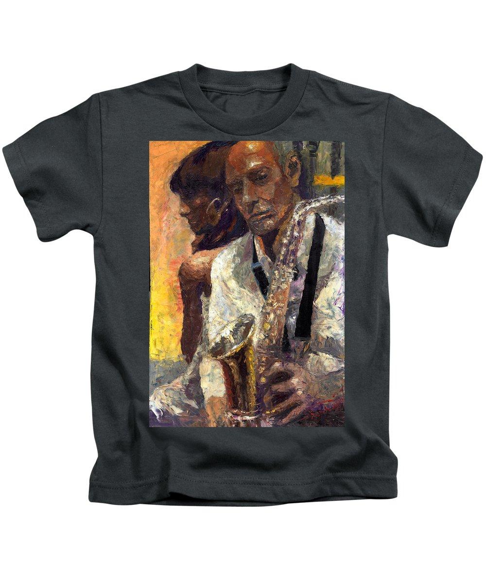 Jazz Kids T-Shirt featuring the painting Jazz Muza by Yuriy Shevchuk