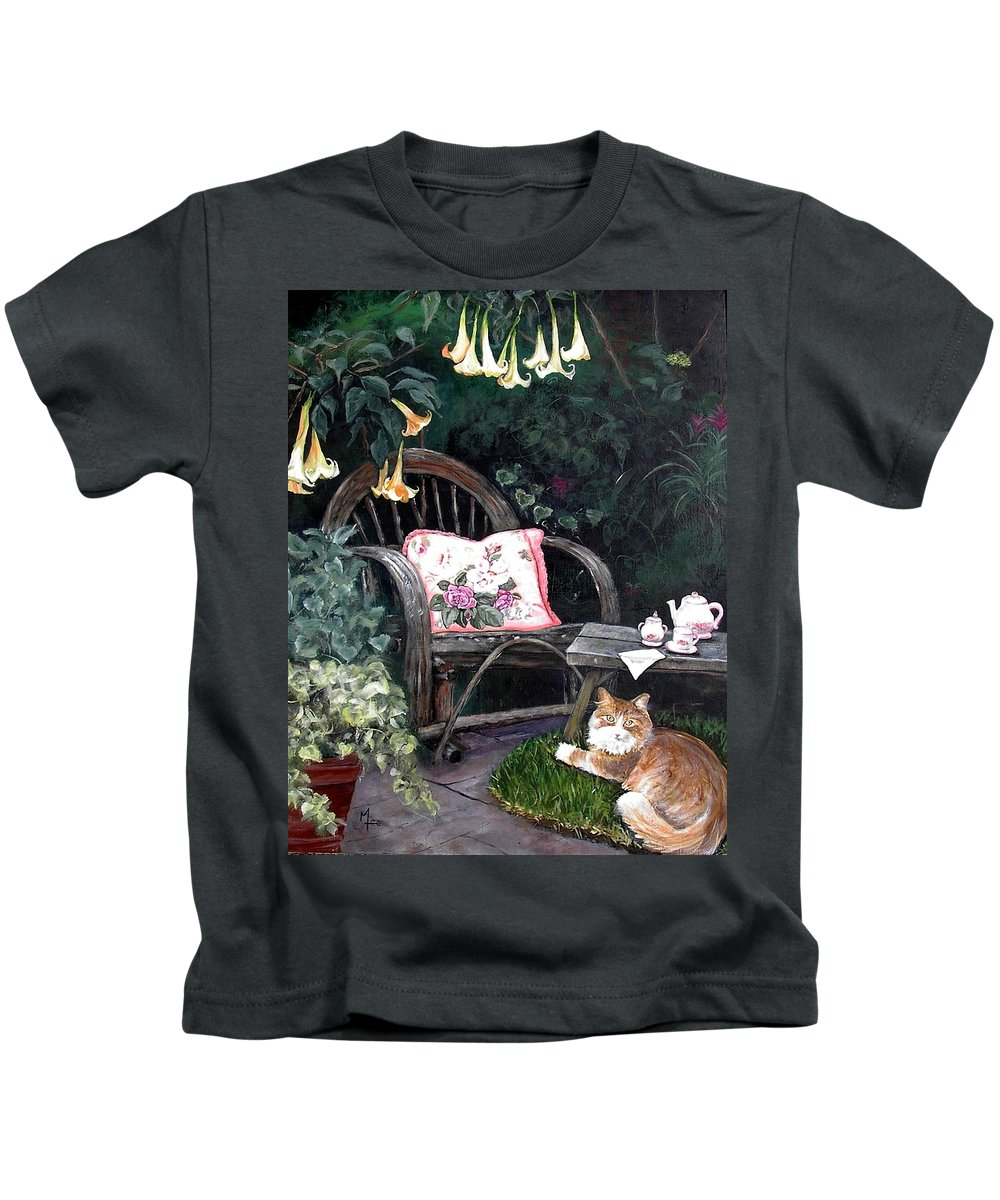 Charity Kids T-Shirt featuring the painting My Secret Garden by Mary-Lee Sanders