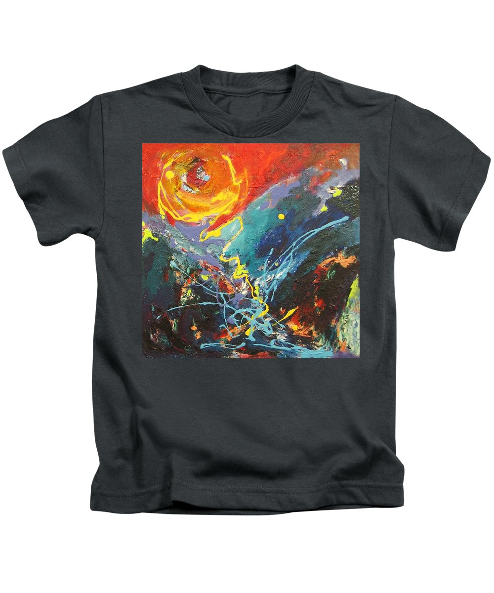 Abstract Paintings Kids T-Shirt featuring the painting The Narrows by Seon-Jeong Kim