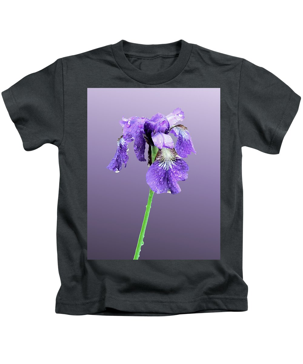 Russian Iris Kids T-Shirt featuring the photograph Wet Russian Iris by Kristin Elmquist