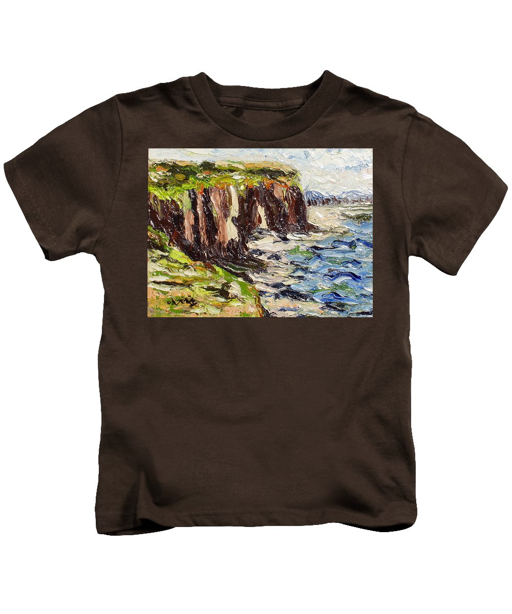 Abstract Paintings Kids T-Shirt featuring the painting Cliff by Seon-Jeong Kim
