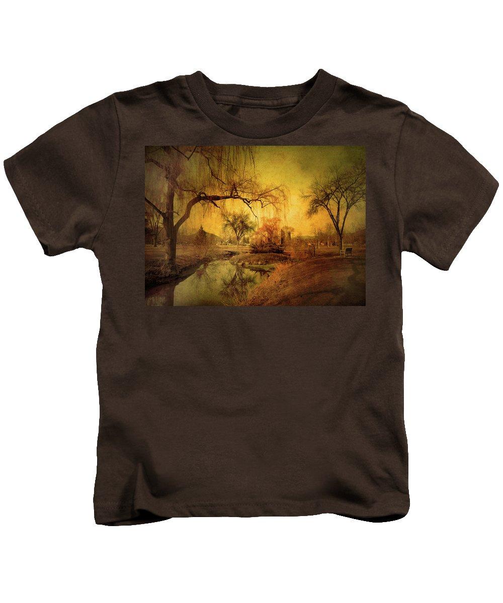 Skaha Park Kids T-Shirt featuring the photograph Golden Winter Days by Tara Turner