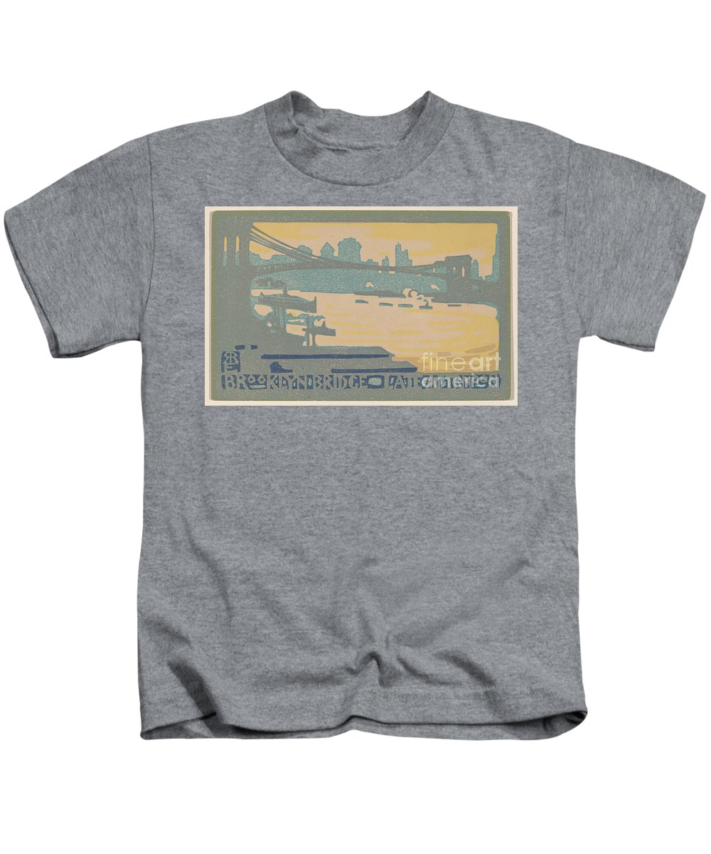 Kids T-Shirt featuring the painting Brooklyn Bridge Late Afternoon by Rachael Robinson Elmer