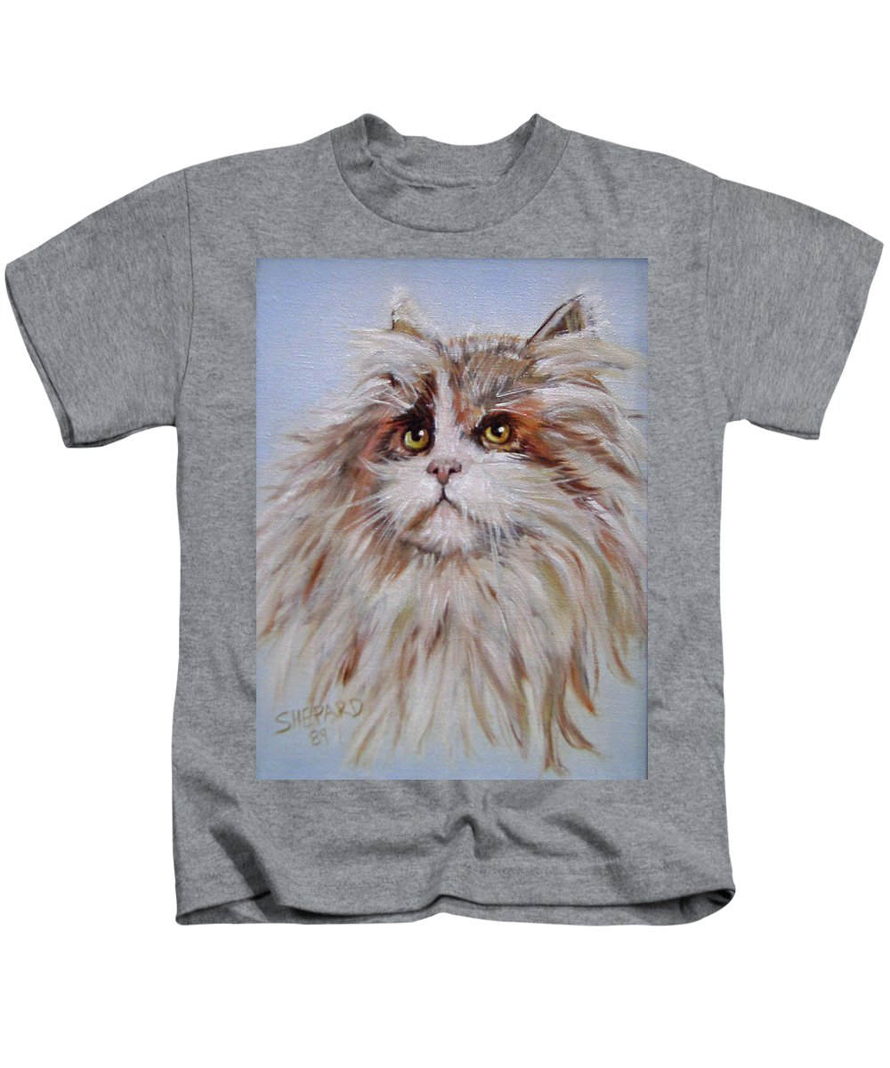 Cat Kids T-Shirt featuring the painting Cat Of Many Colors by Cathy Shepard