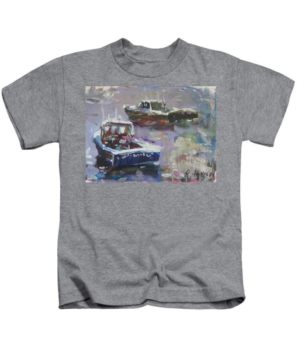 Boat Kids T-Shirt featuring the painting Two Lobster Boats by Robert Joyner