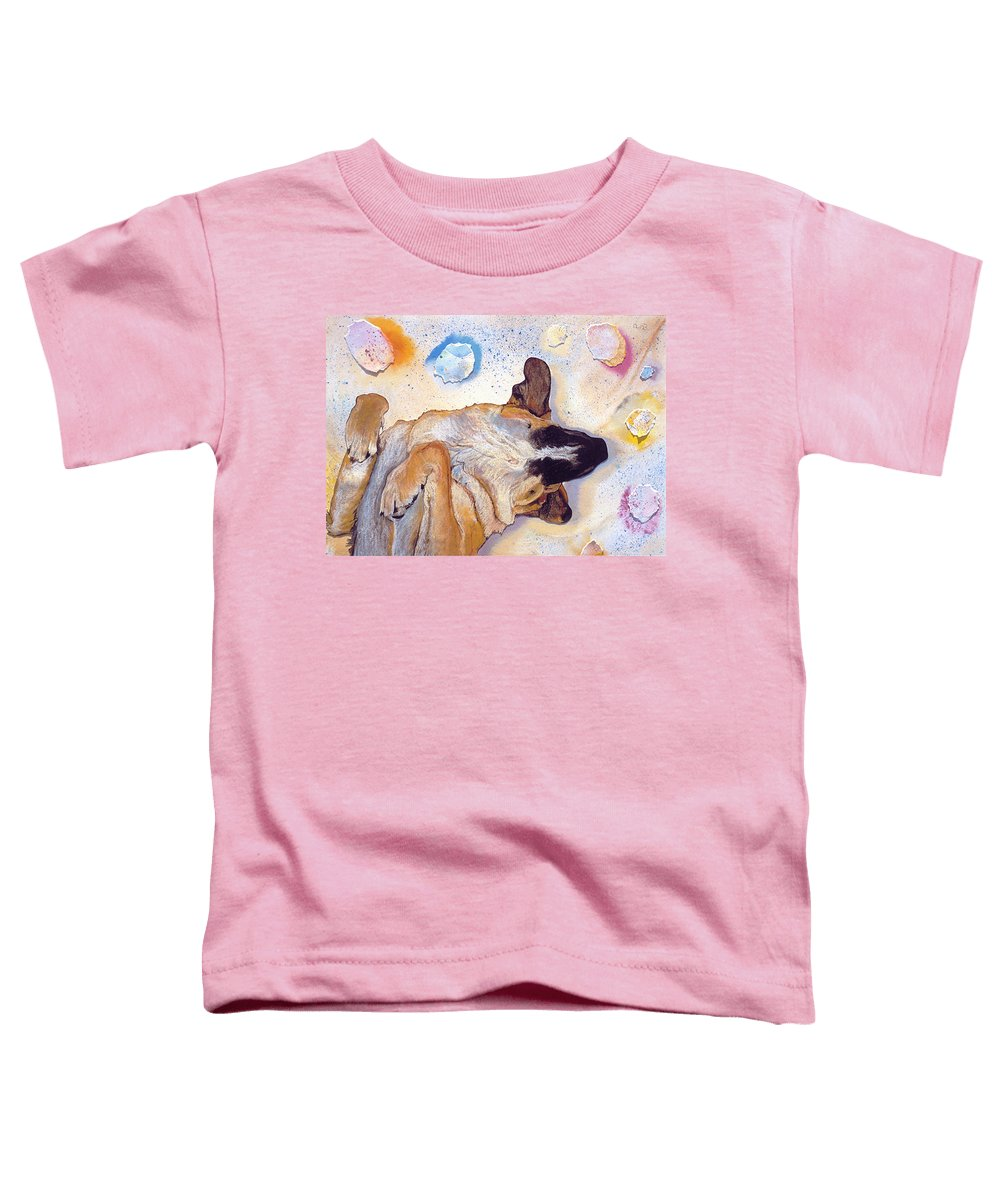 Sleeping Dog Toddler T-Shirt featuring the painting Dog Dreams by Pat Saunders-White