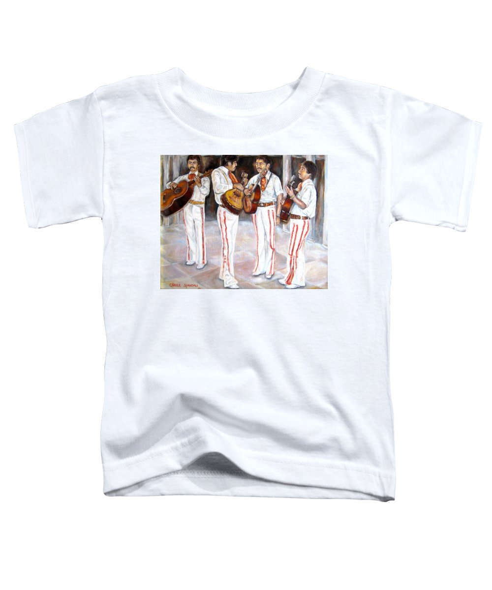 Mariachis Toddler T-Shirt featuring the painting Mariachi Musicians by Carole Spandau