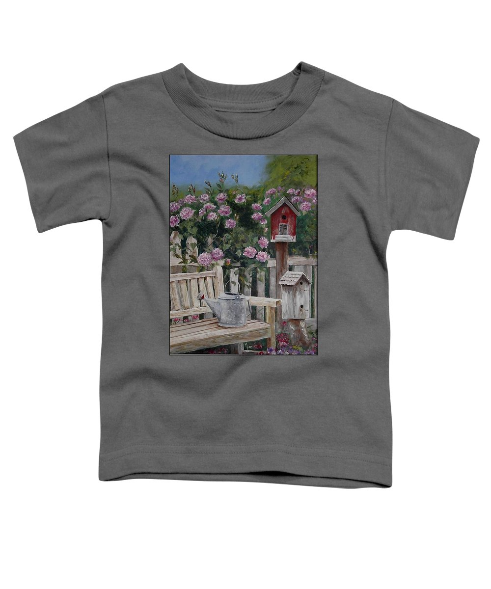 Charity Toddler T-Shirt featuring the painting Take A Seat by Mary-Lee Sanders