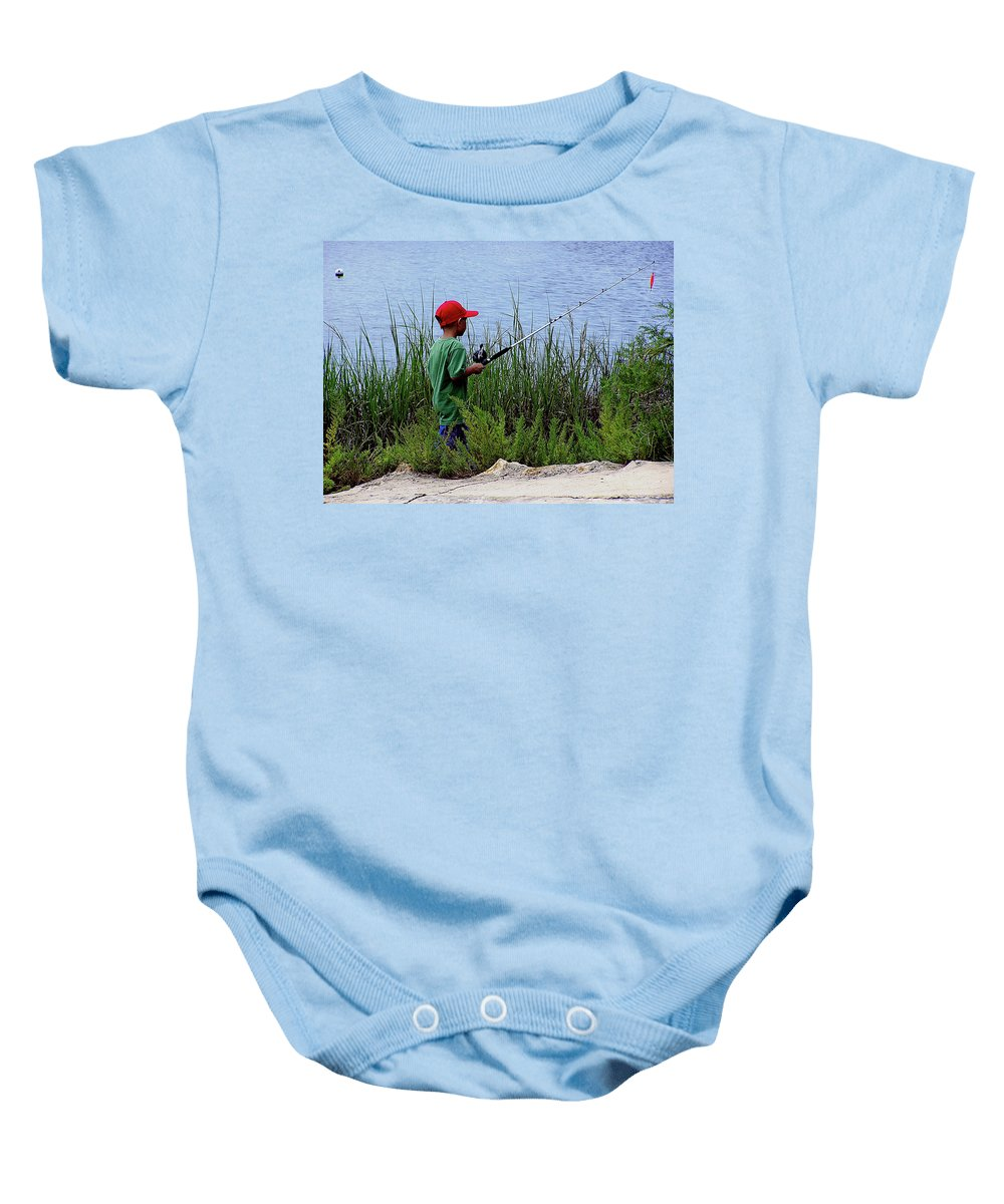 Kids Fishing Baby Onesie featuring the photograph Fishing At Hickory Mound by Marilyn Holkham