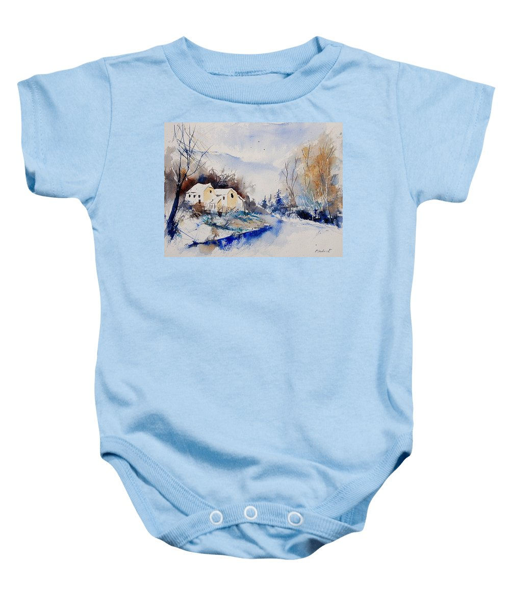 Winter Baby Onesie featuring the painting Watercolor 080408 by Pol Ledent