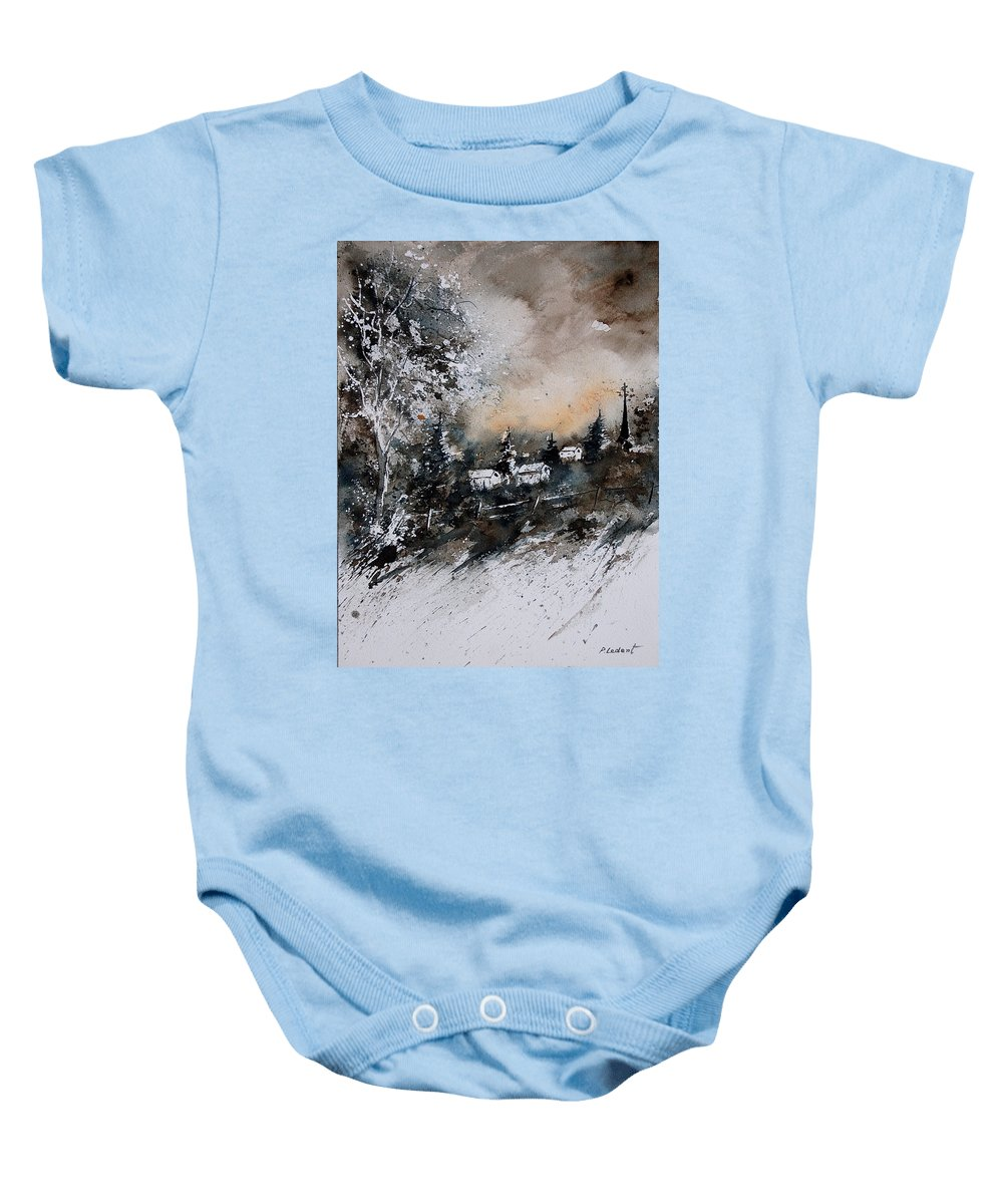 Winter Baby Onesie featuring the painting Watercolor 121206 by Pol Ledent