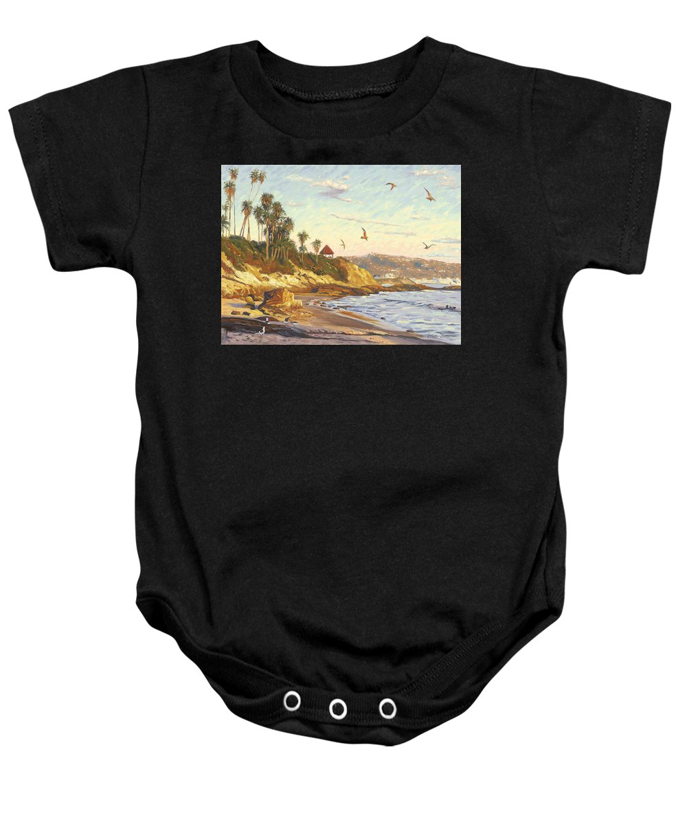 Twilight Baby Onesie featuring the painting Heisler Park Rockpile At Twilight by Steve Simon