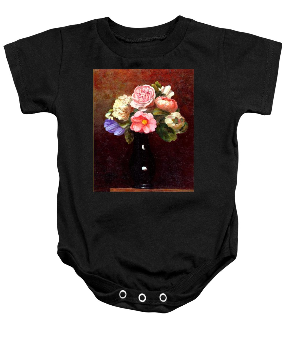 Still Life Baby Onesie featuring the painting Red Roses In A Black Vase by Edward Skallberg