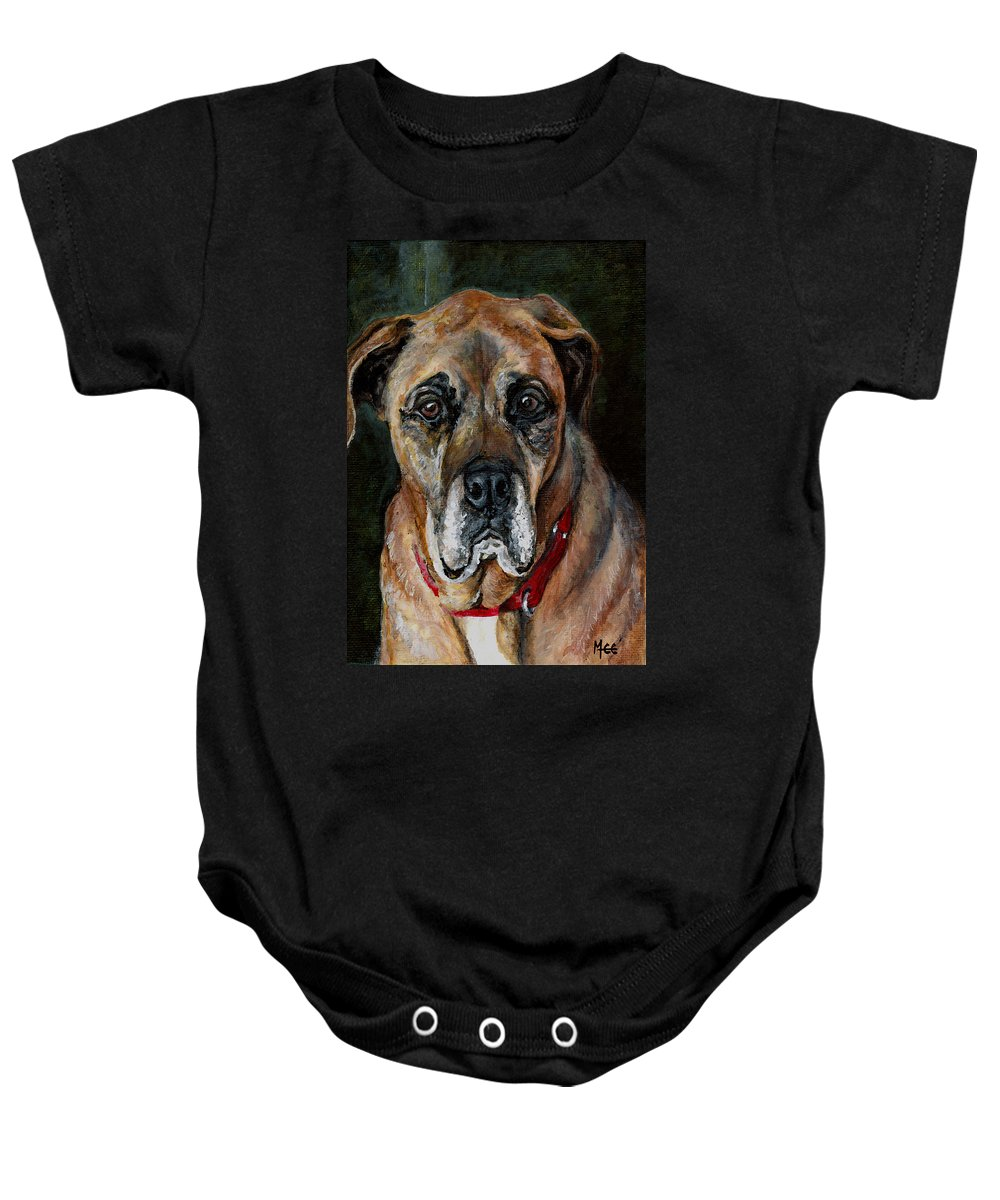 Boxer Baby Onesie featuring the painting Boo For Dogtown by Mary-Lee Sanders