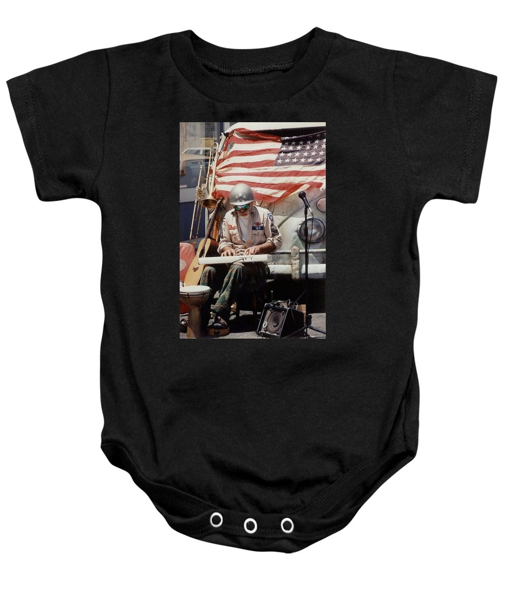 Charity Baby Onesie featuring the photograph Born In The Usa by Mary-Lee Sanders