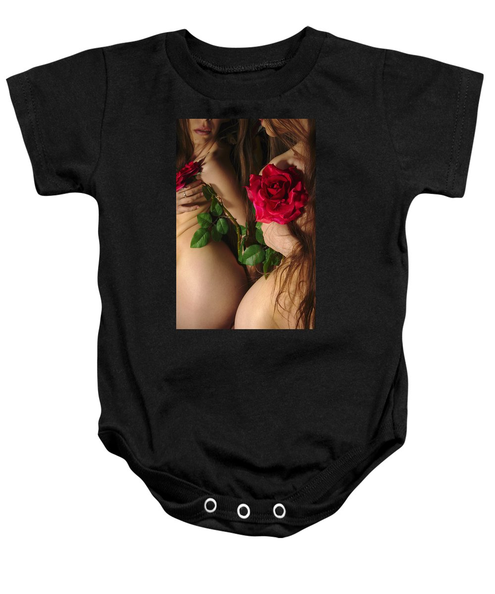 Female Nude Abstract Mirrors Flowers Baby Onesie featuring the photograph Kazi0813 by Henry Butz