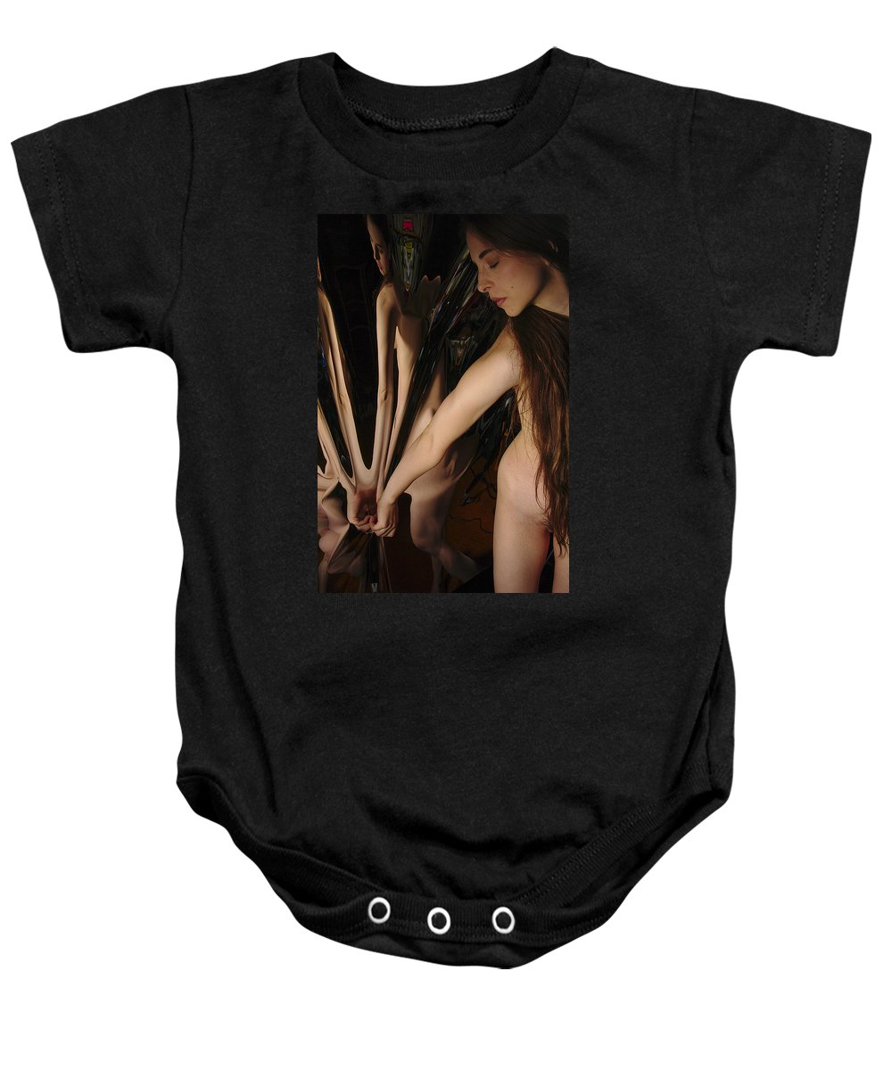 Female Nude Abstract Mirrors Flowers Baby Onesie featuring the photograph Kazi0832 by Henry Butz