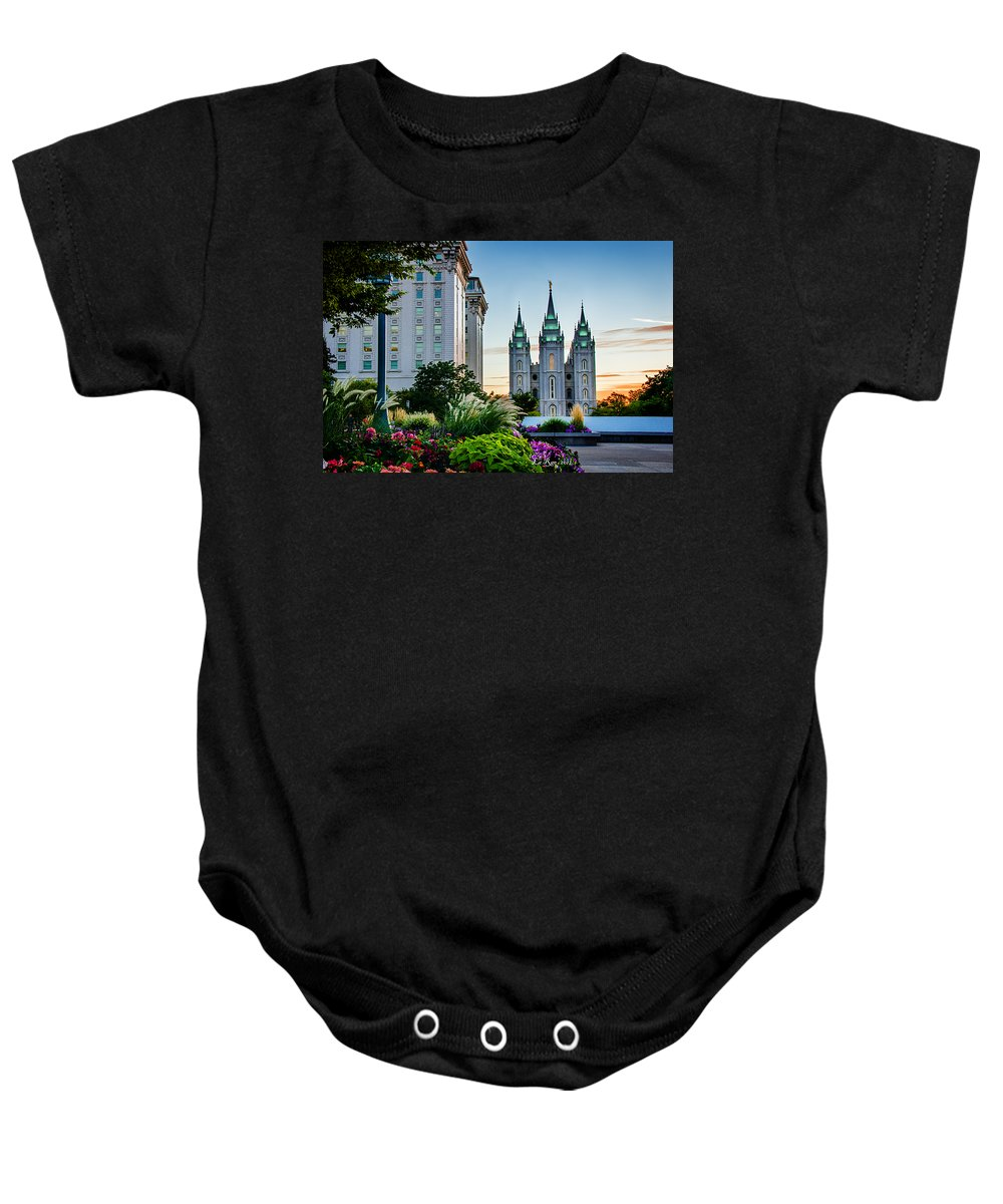 Mormon Temple Photography Baby Onesie featuring the photograph Slc Temple Js Building by La Rae Roberts
