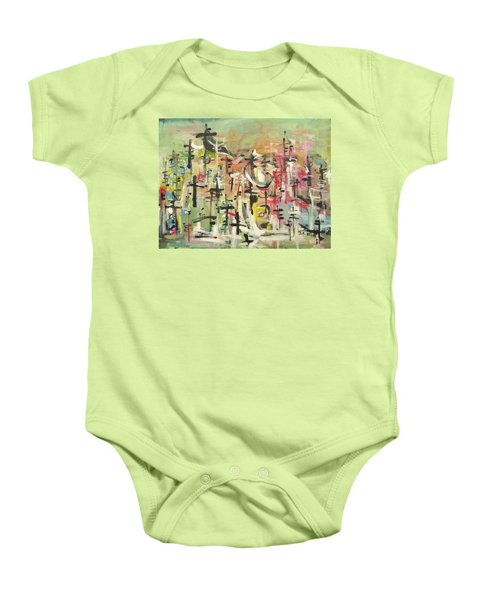 Blow Me Down Painting Baby Onesie featuring the painting Blow Me Down11 by Seon-Jeong Kim